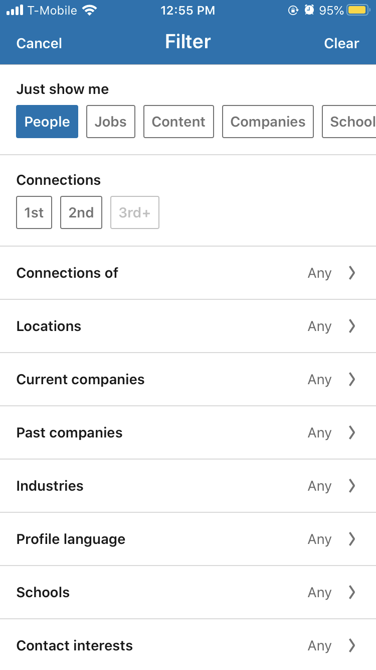 linkedin mobile search filter