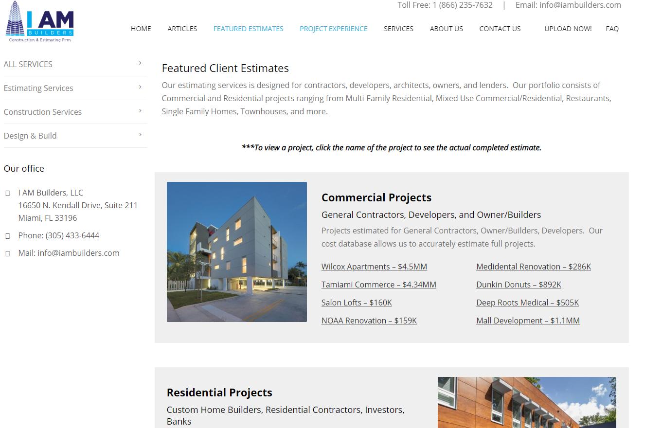 i am builders example estimates