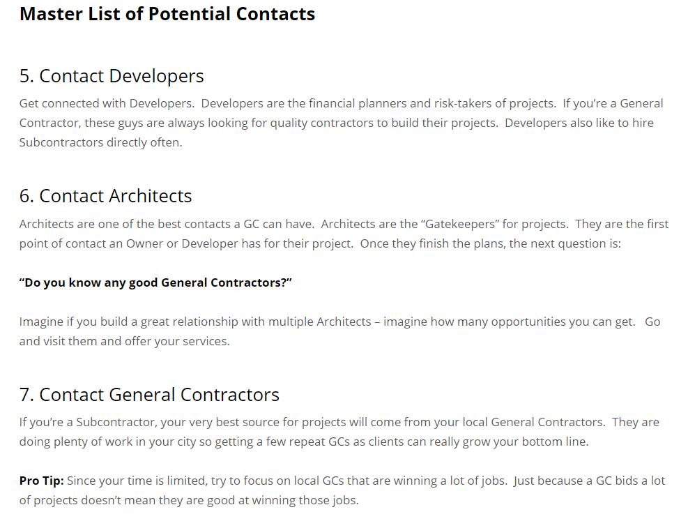 construction bid list