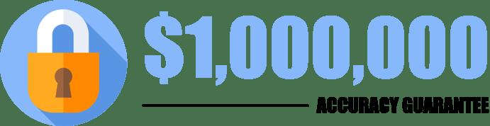 lock icon with $1.000.000 accuracy guarantee